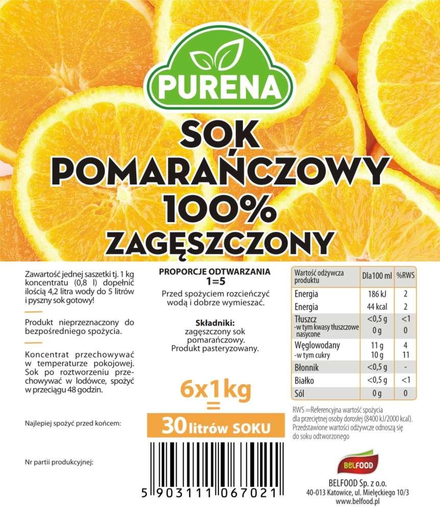zagęszczony sok pomarańczowy 100%