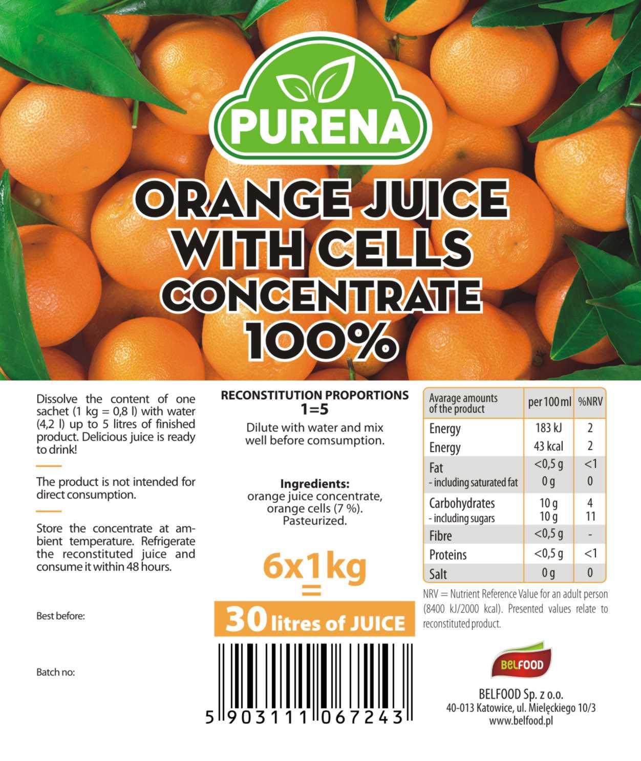 zagęszczony sok pomarańczowy z miąższem 100%