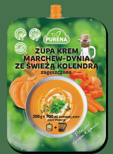 Zupa krem marchew-dynia ze świeżą kolendrą