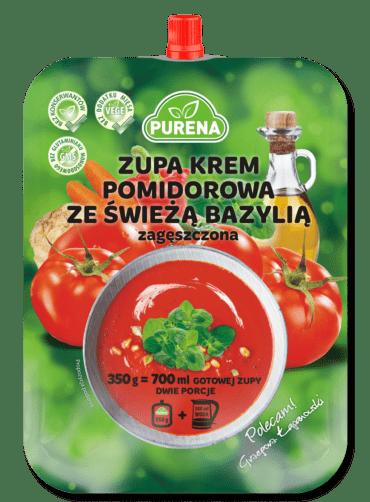 Zupa krem pomidorowa ze świeżą bazylią