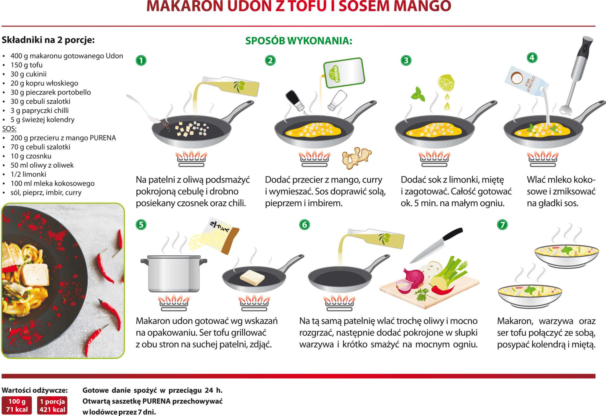 Makaron udon z tofu i sosem mango